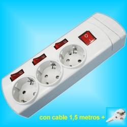Base  3 Tomas Enchufes con 3x Interruptores individuales y 1,5m