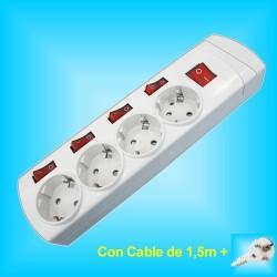 Base  4 Tomas Enchufes con 4x Interruptores individuales y 1,5m
