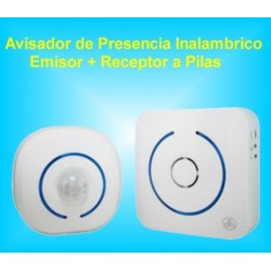 Sensor Avisador de Movimiento Presencia Inalámbrico ( Emisor + Receptor) a Pilas