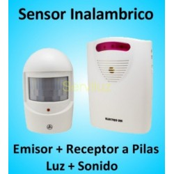Sensor de Movimiento Inalámbrico y Anunciador de visitas con luz y sonido