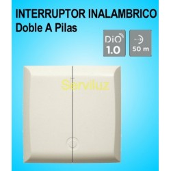 Interruptor Inalámbrico Doble a Pilas para pared DIO