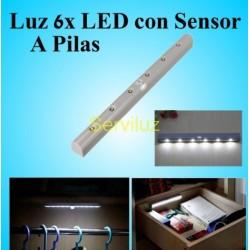 Luz 6x LED con Sensor de Movimiento a Pilas y Detector Infrarrojos