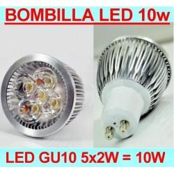 Bombilla LED GU10 de 10W de potencia Color Blanco