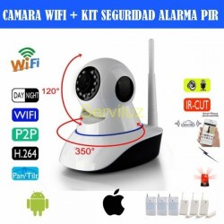 Alarma con Camara  IP Wifi + Sensores de Movimiento Pir y Magnet  control  Movil
