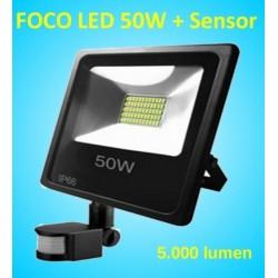 Foco Led con Sensor de Movimiento Proyector de 50w con Detector de Presencia