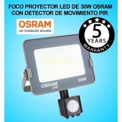 Foco Proyector LED 30W con Detector de Movimiento Sensor PIR OSRAM  IP65 4000K