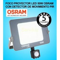 Foco Proyector LED 50W con Detector de Movimiento Sensor PIR OSRAM  IP65 4000K