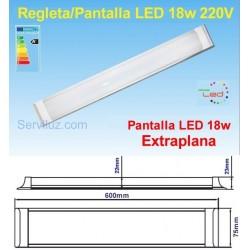 Regleta Pantalla LED 18w LED a 220v de 60cm (pot. Equiv. Fluores